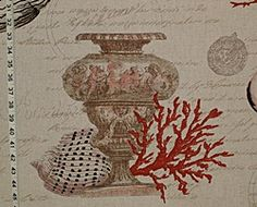 Seashell red coral fabric antique documentary toile