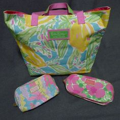Lilly Pulitzer For Estee Lauder Tote Bag And Two Cosmetic Bags Bright Floral | eBay