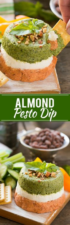 Almond Pesto Dip - An easy yet impressive appetizer that comes together in minutes with the help of a food processor.