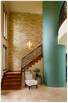 Stacked Stone Interior Wall Design, Pictures, Remodel, Decor and Ideas - page 2 - My-House-My-Home Stone Interior, Interior Stairs, Interior Design, Gray Interior, Modern Staircase, Staircase Design, Railing Design, Indoor Stone Wall, Stone Wall Living Room