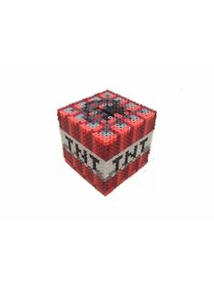 Minecraft Inspired TNT Bank perler beads by BeadProShop