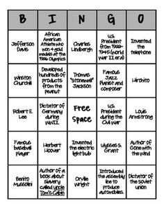 Bingo for Social Studies. Covers some of the important people from the Civil War to World War 2. Great for fifth grade review.