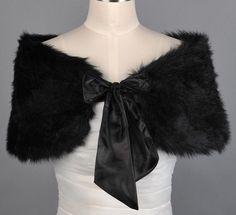 New Hot Sell Black Faux Fur Bridal Wrap Shawl Cape Bolero Throw Shrug Coat. $15