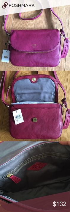 """Beautiful NWT Fossil Crossbody.  Cranberry color Fossil bag, NWT,   Adjustable buckle strap.  Bag snaps open, inner zip pouch and additional pouch.  Top also zips open for extra storage.  Fossil key hang tag.  Love this berry color.  . Measures 9 X 6"""". Fossil Bags Crossbody Bags"""