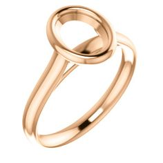 14kt Rose  8x6mm Oval Solitaire Engagement Ring Mounting