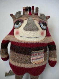 Amanda Katzenmeyer/Sweet Poppy Cat - Sweater Monster Stuffed Animal Striped Repurposed/Upcycled