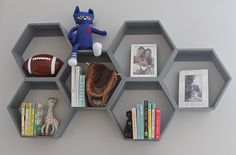 Hexagon shelves -  they store everything from books to trinkets.