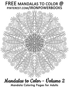 Free Printable Mandalas! Stress reliever | Art therapy. This is a FREE Printable Page from Mandalas to Color Volume 2. For more of these designs visit: http://www.amazon.com/Mandalas-Color-Mandala-Coloring-Adults/dp/1495387631 Copyright © 2014 IRONPOWER PUBLISHING
