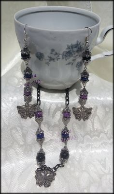 $15 Vintage Butterfly Set Blue Black and Purple by KraftyHeadquarters #kraftyheadquarters #handmade #jewelry