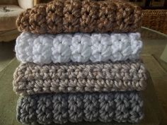 chunky crochet blankets in neutral colors