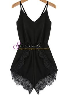 2014 Hot Summer Sale New Designer Moda feminina curto preto ocasional Spaghetti Strap Lace Chiffon Jumpsuit
