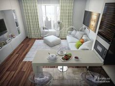 Home Tour Series: Dining & Room Kitchen layout Design Modern Apartment Decor, Small Apartment Interior, Small Apartment Design, Small Apartments, Small Living Rooms, Living Room Modern, Living Room Designs, Studio Living, Condo Living