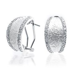 These silver toned half hoop earrings have texture and matte modern style, with a pave CZ edge. These CZ half hoop fashion jewelry earrings for women are made with a comfy omega back, while the eye catching design keeps your look fresh. Rhodium plated for Bridal Earrings, Women's Earrings, Silver Earrings, Bling Jewelry, Wedding Jewelry, Fashion Jewelry, Gemstones, Pendant, Diamond