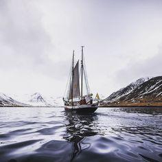 The Donna Wood sailing into Siglufjörður Iceland.  @northsailing @northiceland @arcticheliskiing @icelandair  #iceland #siglufjörður #sailing #skitothesea #skiiceland #northiceland #northsailing #donnawood #mystopover #icelandair #ocean #nikon #fjordexplorer #fjord #gnarway #bergmennmountainguides #arcticheliskiing by andrewstrain