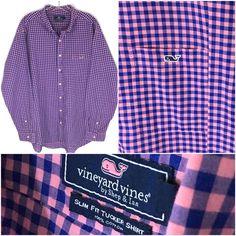 Vineyard Vines Slim Fit Tucker Shirt Blue Pink Gingham Check Whale Logo Mens XL…