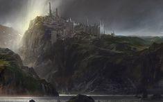 Fantasy City  Landscape Sea Rock Castle Dark Fantasy Wallpaper
