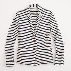 Factory Stripe Knit Blazer ($74) ❤ liked on Polyvore featuring outerwear, jackets, blazers, blazer, stripe, jcrew, striped jacket, striped blazer, blazer jacket and knit blazer