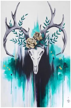 Deer skull painting *SOLD* Deer skull with gold roses and abstract background acrylic painting by Elle Art Deer Skull Drawing, Deer Skull Art, Deer Skull Tattoos, Skull Painting, Art Tattoos, Painted Deer Skulls, Deer Wallpaper, Dream Catcher Art, Animal Skulls