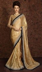 Golden Color Brasso Festival & Function Sarees : Vrushika Collection YF-31180