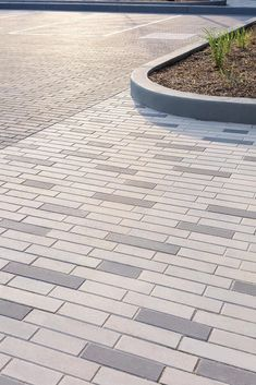 Modern, long and thin, this paver is ideal for any linear driveway, patio or walkway designs! Patio Slabs, Pavement, Sidewalk, Cottage, Outdoor Decor, Tile, Design, Google Search, Create