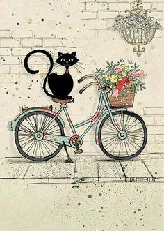 Bike Cat - Bug Art greeting card Ironic isn't it? Bug Art, Illustration Art, Illustrations, Cat Cards, Greeting Cards, Here Kitty Kitty, Cat Drawing, Bike Drawing, Drawing Animals