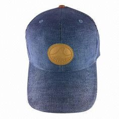 Sports hat with leather patch, corduroy, six panels