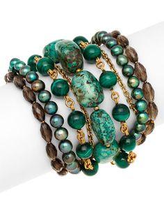 Stephen Dweck Bronze Gemstone Bracelet. Loving the greens and earth tones.
