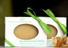 green earth naturals shea and calendula milk bar soap, made from raw organic milk from pastured cows free of hormones and antibiotics, is very moisturizing, infused with organic calendula petals. calendula renowned for its relief of skin irriations and h