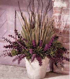 The plum eucalyptus makes this dried floral arrangement so pretty!