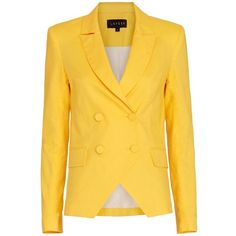 LAVEER Kadette Blazer: Yellow ($495) ❤ liked on Polyvore featuring outerwear, jackets, blazers, yellow blazer, cotton double breasted blazer, collar jacket, double breasted jacket and double breasted blazer