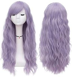 Purple Wig, Green Wig, Wigs With Bangs, Hairstyles With Bangs, Shoulder Length Hair With Bangs, Real Hair Wigs, Goth Hair, Colored Wigs, Natural Wigs