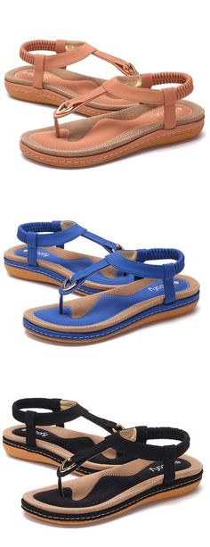 US$21.03 SOCOFY Comfortable Elastic Clip Toe Flat Beach Sandals