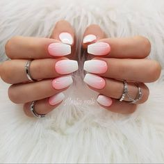 Make an original manicure for Valentine's Day - My Nails Coffin Nails Matte, Cute Acrylic Nails, Cute Nails, White Shellac Nails, Peach Nails, Coral Ombre Nails, Glitter Ombre Nails, Uñas Color Coral, Hair And Nails
