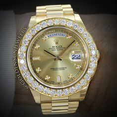 Rolex Day Date II President with Russian cut diamond bezel and diamond dial