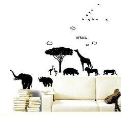 African safari animal wall decal