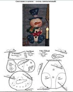 Reindeer n Santa Pattern - MyKingList.com Christmas Sewing, Christmas Wood, Primitive Christmas, Christmas Snowman, Craft Patterns, Doll Patterns, Snowman Patterns, Doll Crafts, Fun Crafts