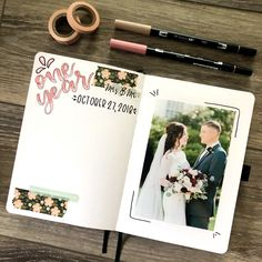 One Year wedding anniversary bullet journal memory page
