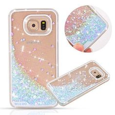 Urberry Galaxy S6 Case Running Glitter Cover Creative Design Flowing Liquid Floating Luxury Bling Glitter Sparkle Hard Case for Samsung Galaxy S6 with a Screen Protector