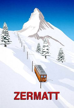 This is a retro style poster for Zermatt ski resort in Switzerland. Ski Posters, Railway Posters, Poster S, Tourism Poster, Zermatt, Vintage Ski, Vintage Travel Posters, Indoor Climbing Wall, Mountain Drawing