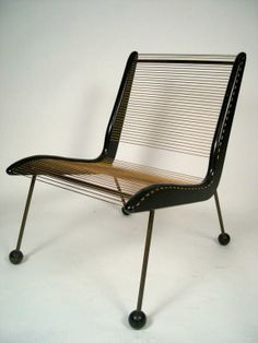 Jacques Gillon; Enameled Wood and Metal, Patinated Brass and Nylon Cord Chair for Modernart, 1954.