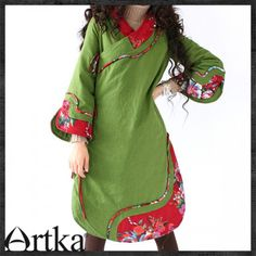 Artka Original Flower Jacket Retro hooded Winter Cotton Coat A09360Z | ArtkaFashion - Clothing on ArtFire