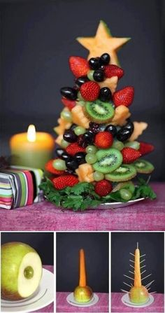 Tutorial to make edible fruit Christmas tree! - a healthy Christmas breakfast option? Fruit Christmas Tree, Christmas Tree Crafts, Noel Christmas, Christmas Goodies, Simple Christmas, Christmas Baking, Christmas Decorations, Christmas Buffet, Christmas Snacks