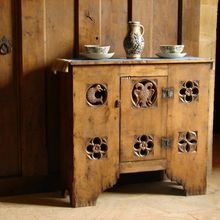 Gothic aumbry cupboard with tracery carving