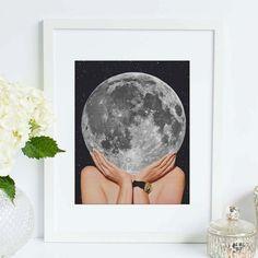 Moon art print  La Luna art poster  Surreal by ArtisticSideOfLife