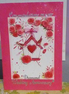 Diamond (60) Wedding Anniversary Card.  Central image is 3d-decoupaged.