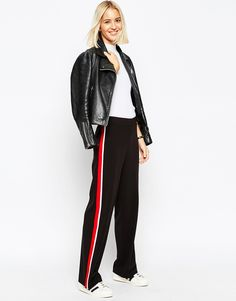Image 1 of ASOS Wide Leg Trouser with Side Stripe