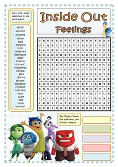 Inside Out Feelings - Wordsearch - English Esl Worksheets images ideas from Worksheets Ideas Elementary School Counseling, School Social Work, School Counselor, Elementary Schools, Emotions Activities, Counseling Activities, Therapy Activities, Teaching Emotions, Therapy Ideas
