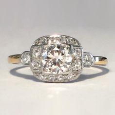 Elegant 1930's Halo Diamond Engagement Ring 1ctw