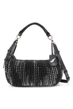 Sutra Knit Metallic Leather Zip Hobo