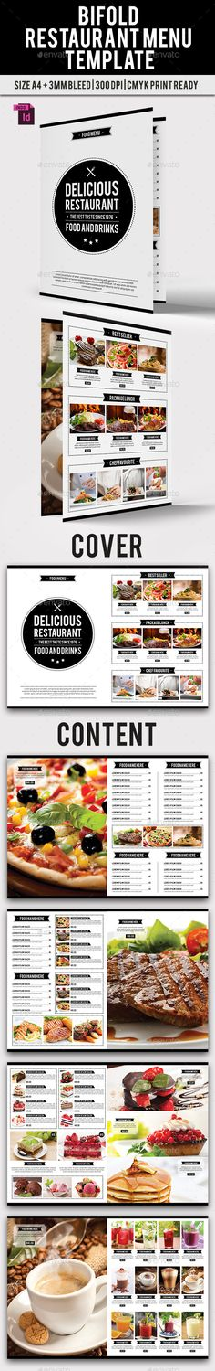 BiFold Restaurant Menu Template InDesign INDD. Download here: http://graphicriver.net/item/bifold-restaurant-menu-vol-9/15174253?ref=ksioks